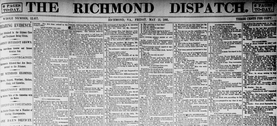 the Buford Grymes trail occupied all eight columns on the front page of The Richmond Dispatch on May 15, 1891