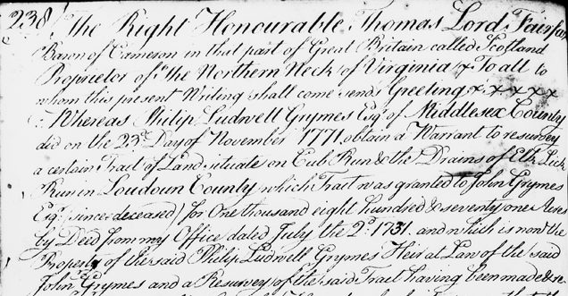 1773 land grant issued by Lord Fairfax to Philip Grymes